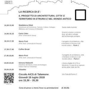 19/07/2018 La ricerca di E: la lettura della cultura etrusca attraverso il progetto di architetture, città e territori